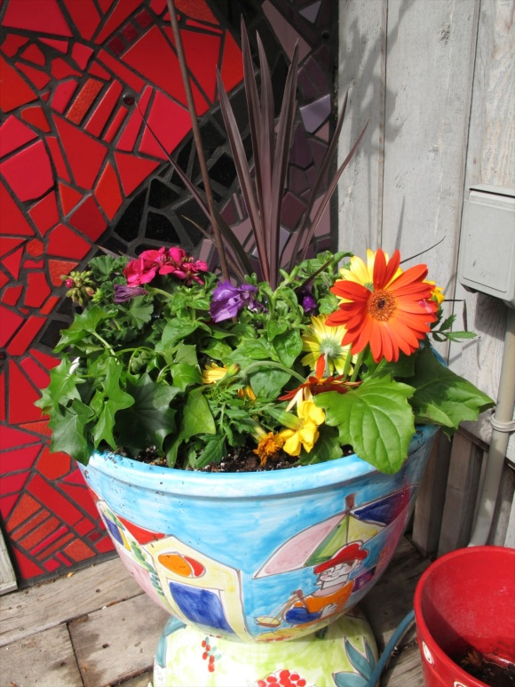 freshly planted pot