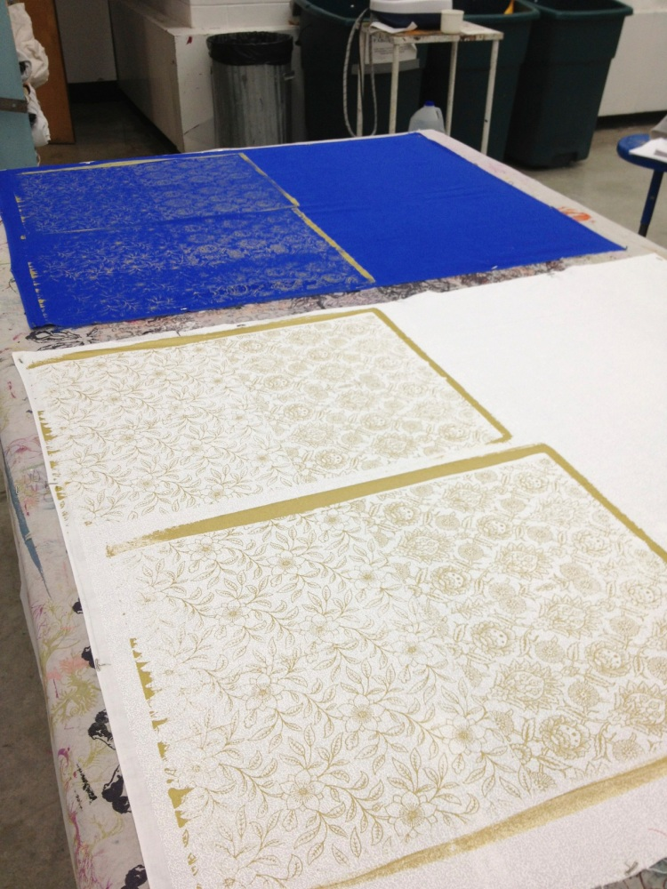 fabrics on print table