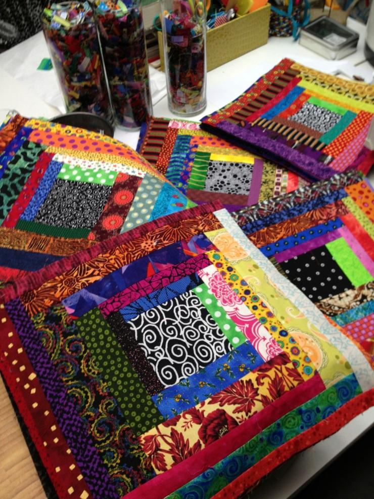 piles of quilt blocks