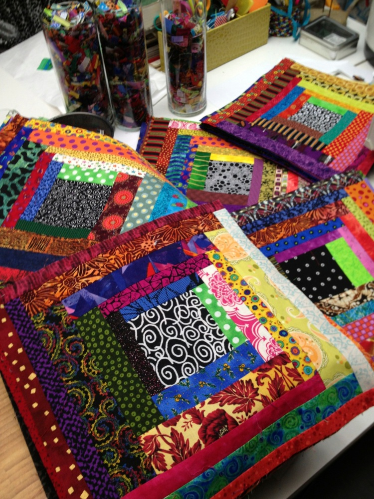 piles of quilt blocks