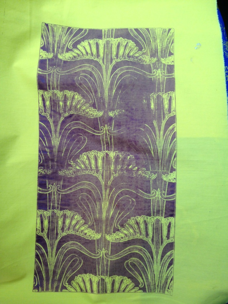 print on yellow fabric