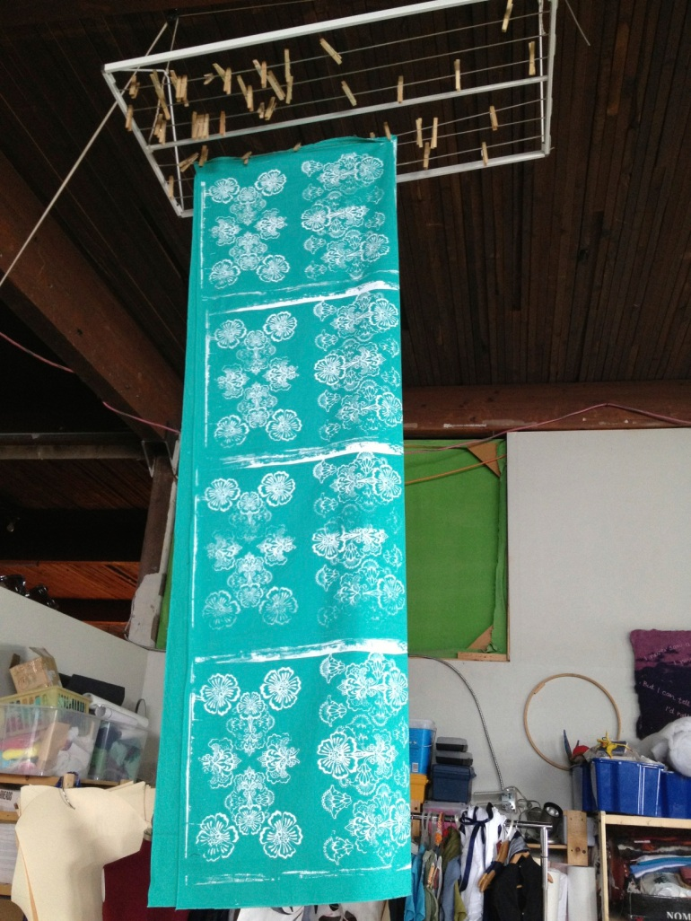 turquoise fabric drying