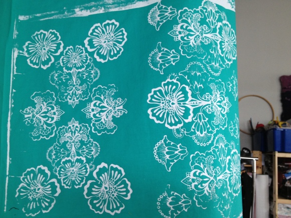 white on turquoise fabric