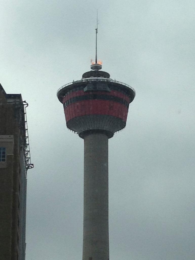 flame on Calgary Tower