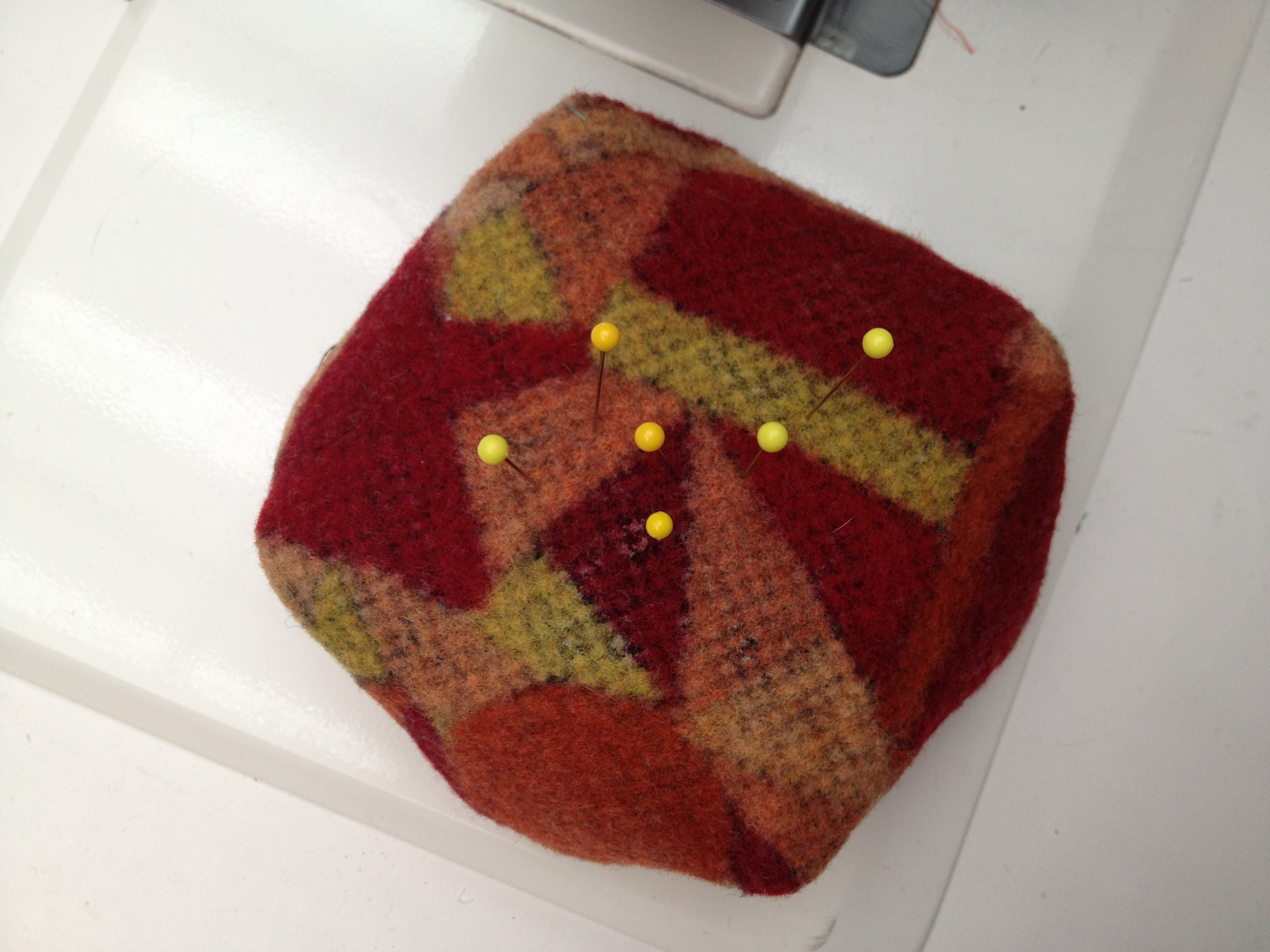 top view felted pin cushion