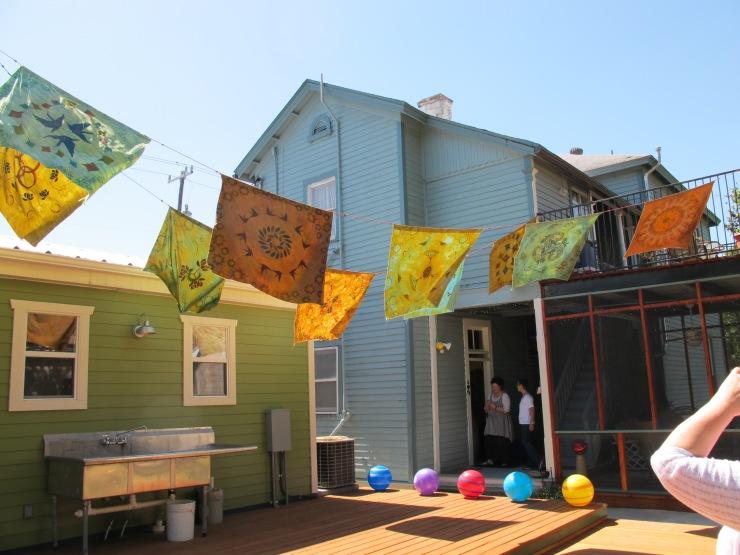 prayer flags in back yard