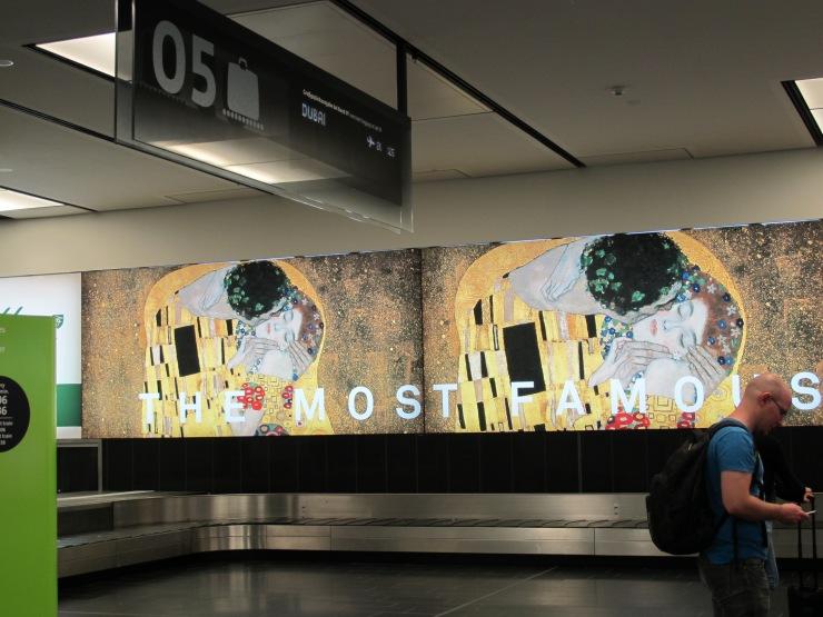 Kiss signage at airport
