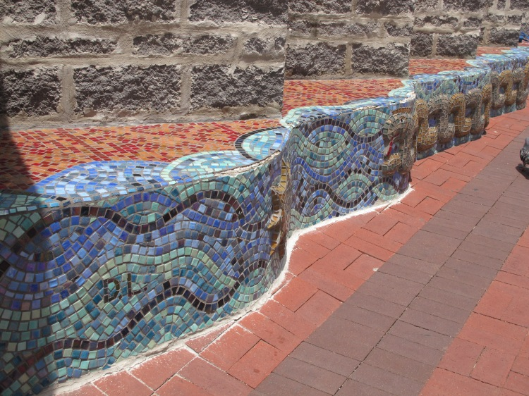 serpentine tile bench