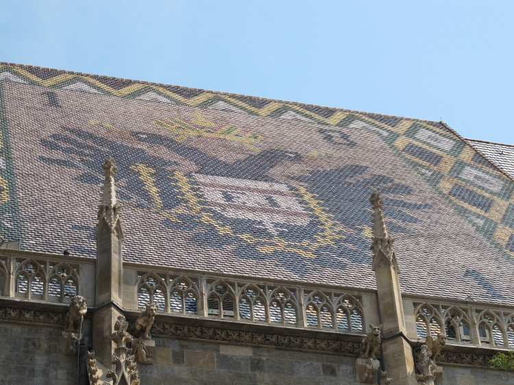 tile crest on roof, St. Stephen's