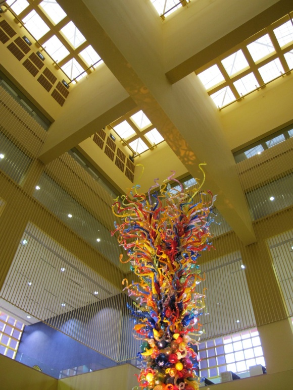 ceiling and Chihuly glass