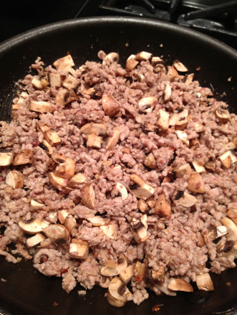 meat with onions and mushrooms added