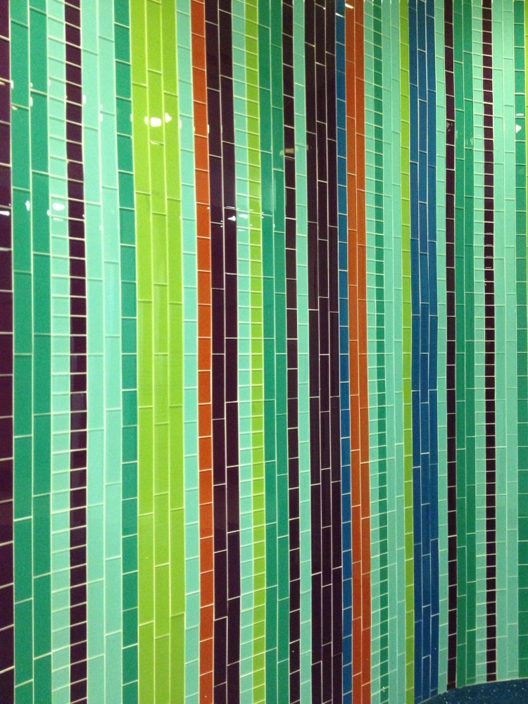striped glass tile wall