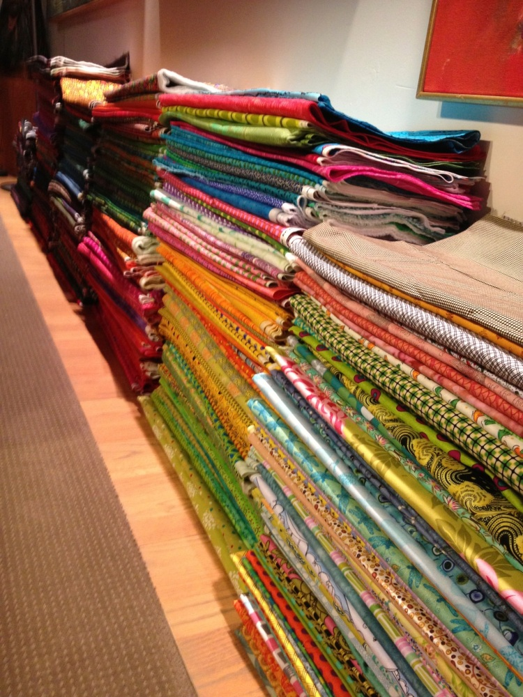 a row of stacked fabric