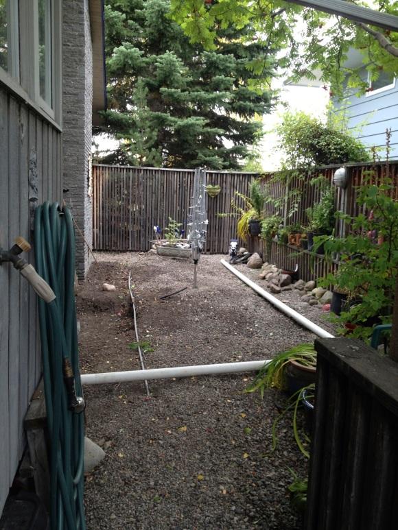 side yard under construction