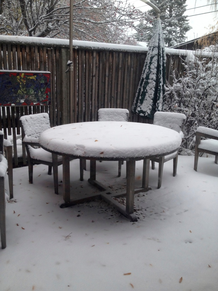 summer table in the snow