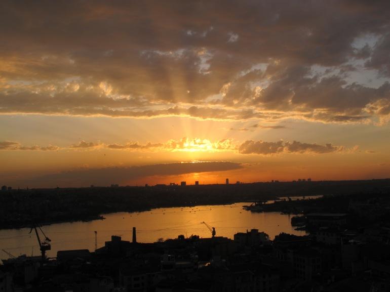 start of sunset