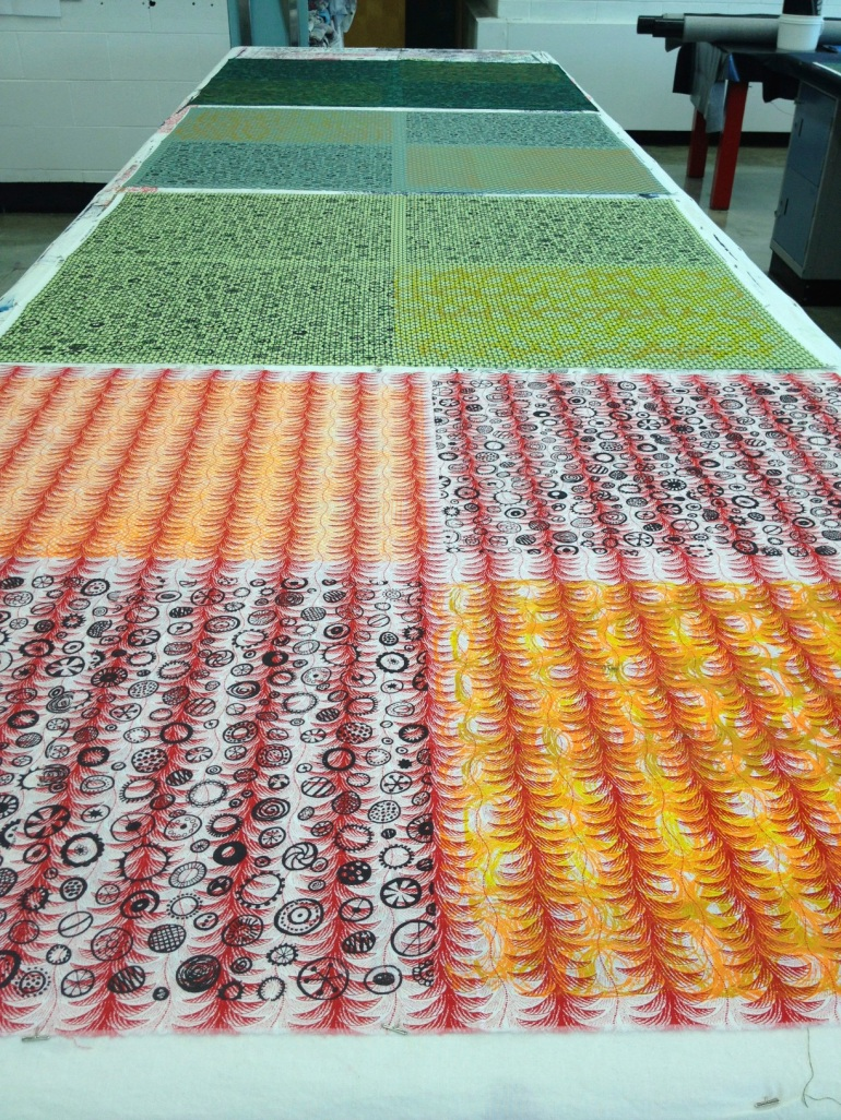 print table covered with fabric