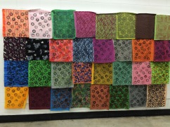 wall of printed fabrics