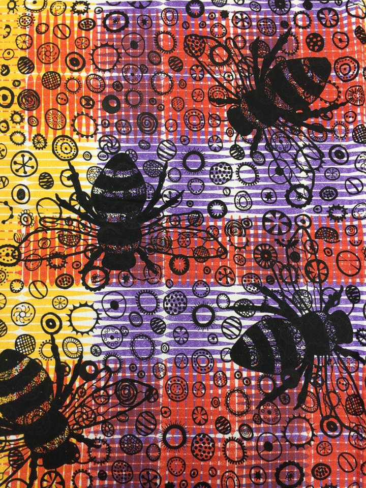 bumble bee printed fabric