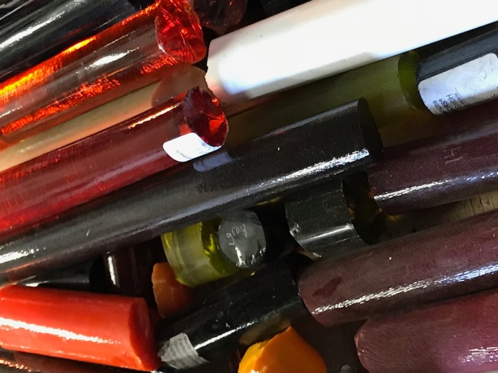coloured glass rods